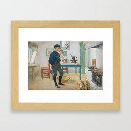 CARL LARSSON, Vet du vad Var god och glad Framed Art Print