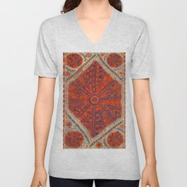Orange Wildflower Sunshine II // 18th Century Colorful Rusty Red Bright Blue Metallic Happy Pattern Unisex V-Neck