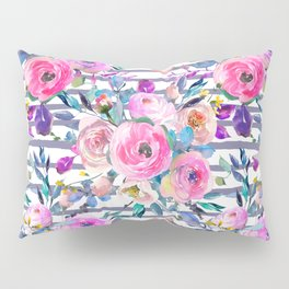 Pink mauve lilac hand painted watercolor roses floral stripes Pillow Sham