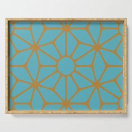 Blue and Orange Tiles Serving Tray