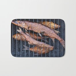Smoked fish pike and roach Bath Mat