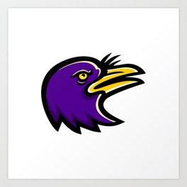 American Crow Head Mascot Art Print
