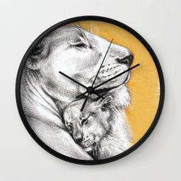 Lioness Mom Love Art Wall Clock