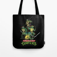 tmnt Tote Bags featuring TMNT by Neal Julian