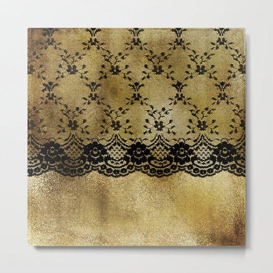 Black floral elegant lace on gold metal background- #Society6 Metal Print
