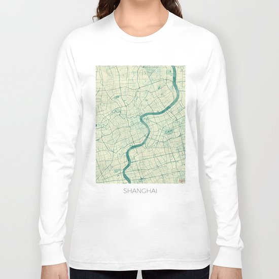 Shanghai Map Blue Vintage Long Sleeve T-shirt