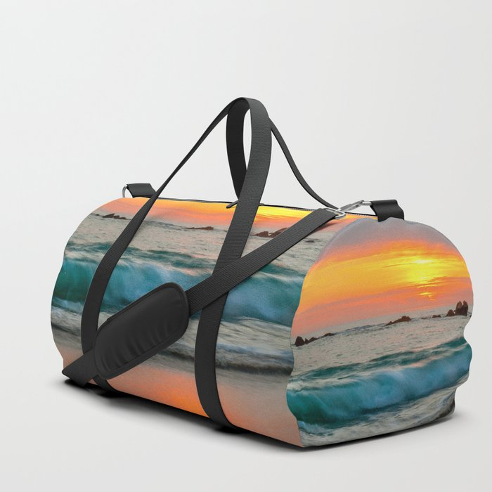 Golden sunset with turquoise waters Duffle Bag
