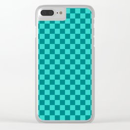 Teal and Turquoise Checkerboard Clear iPhone Case