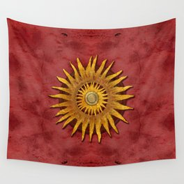 """Aztec Sun and pickled coral"" Wall Tapestry"