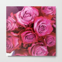 Ruby Pink Fragrant Roses Floral Bouquet Metal Print