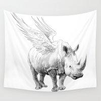 rhino Wall Tapestries featuring rhino by Agnieszka Antosiewicz