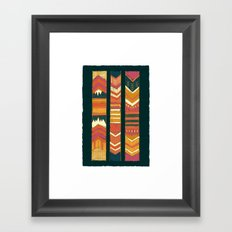 Navii Geometirc Tapestry Chevron  Framed Art Print