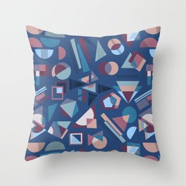 Winter Shapes Pattern in Blue Throw Pillow