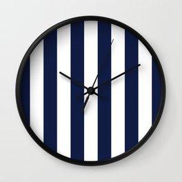 Navy Blue Bold Vertical Stripe Line Minimal Stripes Lines Wall Clock