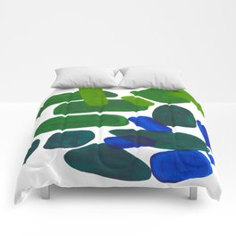 Mid Century Vintage Abstract Minimalist Colorful Pop Art Phthalo Blue Lime Green Pebble Shapes Comforters