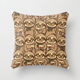 Sloth Coffee Throw Pillow