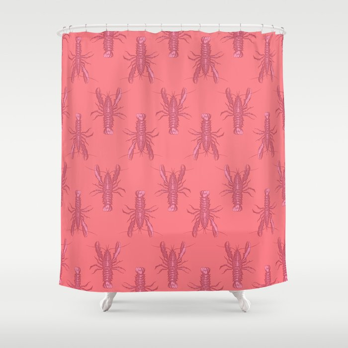 Pink Lobster Shower Curtain By Wallpaperfiles