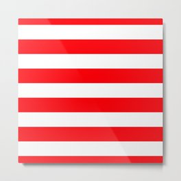 Christmas Red and White Cabana Stripes Metal Print
