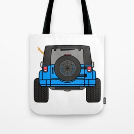 Jeep Wave Back View - Blue Jeep Tote Bag