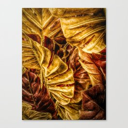 Painted Autumn Monstera palm leaves by Brian Vegas Canvas Print