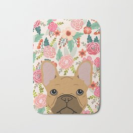 French Bulldog florals portrait dog breed custom pet portraits by pet friendly frenchie Bath Mat