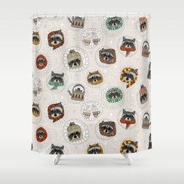 hygge raccoons Shower Curtain