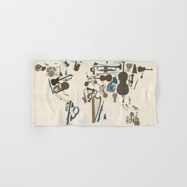 Musical Instruments Map of the World Hand & Bath Towel