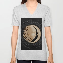 Face in sun and moon hand drawing vintage engraving money line detail style Unisex V-Neck