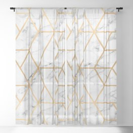 Marble & Gold Geo Lines Sheer Curtain