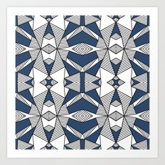 Triangle Tribal #2 Navy Art Print