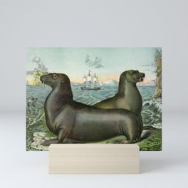 Sea lions vintage illustration Mini Art Print