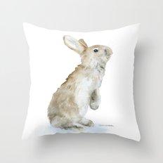 Bunny Rabbit Watercolor Throw Pillow