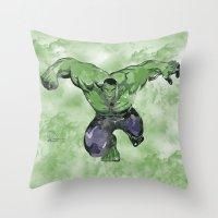 hulk Throw Pillows featuring Hulk by DanielBergerDesign