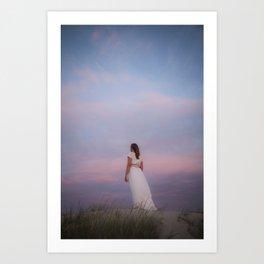 Sunset in the dunes Art Print