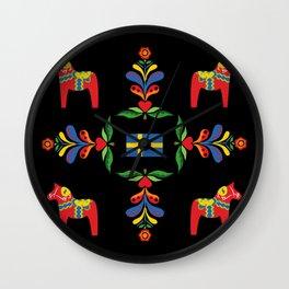 Swedish folk art pattern Wall Clock