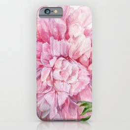 Pink Peony Floral Watercolor Detailed Botanical Garden Flower Realism iPhone Case