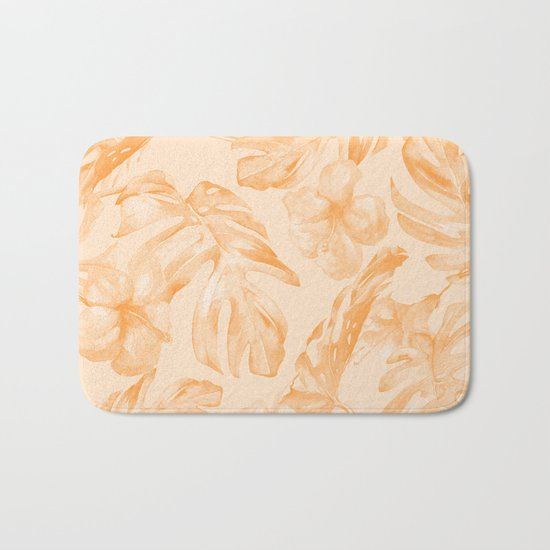 Island Vacation Hibiscus Palm Leaf Orange Bath Mat