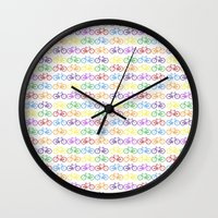 bicycles Wall Clocks featuring Colorful Bicycles by GoldTarget