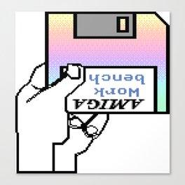 Amiga workbench vaporwave insert disk Canvas Print