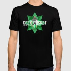 geek casket {green}. Mens Fitted Tee Black MEDIUM