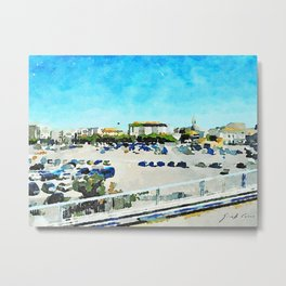 Pescara: view from the train station of the parking lot and skyline of the city Metal Print