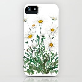 white Margaret daisy watercolor iPhone Case