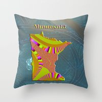 minnesota Throw Pillows featuring Minnesota Map by Roger Wedegis