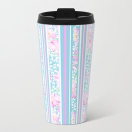 Lipstick Pink Roses and Butterflies - Stripes Travel Mug