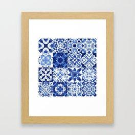 Indigo Watercolor Tiles Framed Art Print