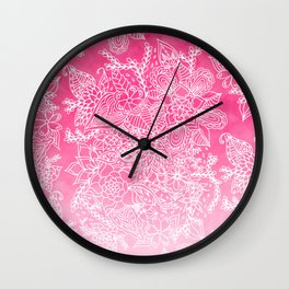 Modern girly floral pattern pink ombre watercolor pattern Wall Clock