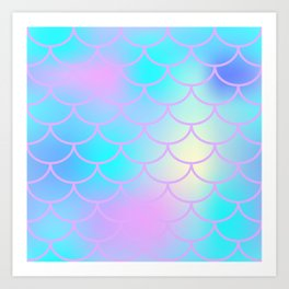 Turquoise Purple Mermaid Art Print