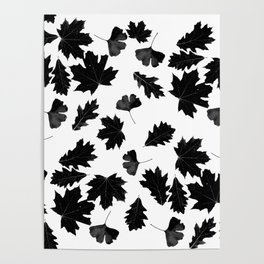 Falling Autumn Leaves in Black and White Poster