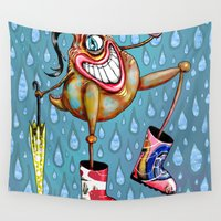 cyclops Wall Tapestries featuring Cyclopian Beauty in her Wellies / Galoshes by Amy Gale