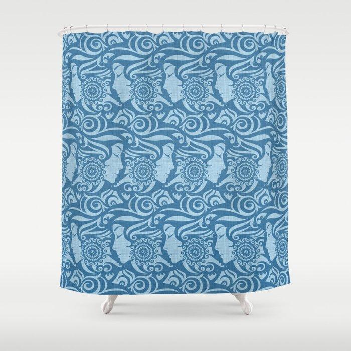 Blue Denim Diva Shower Curtain By Alexmorgan